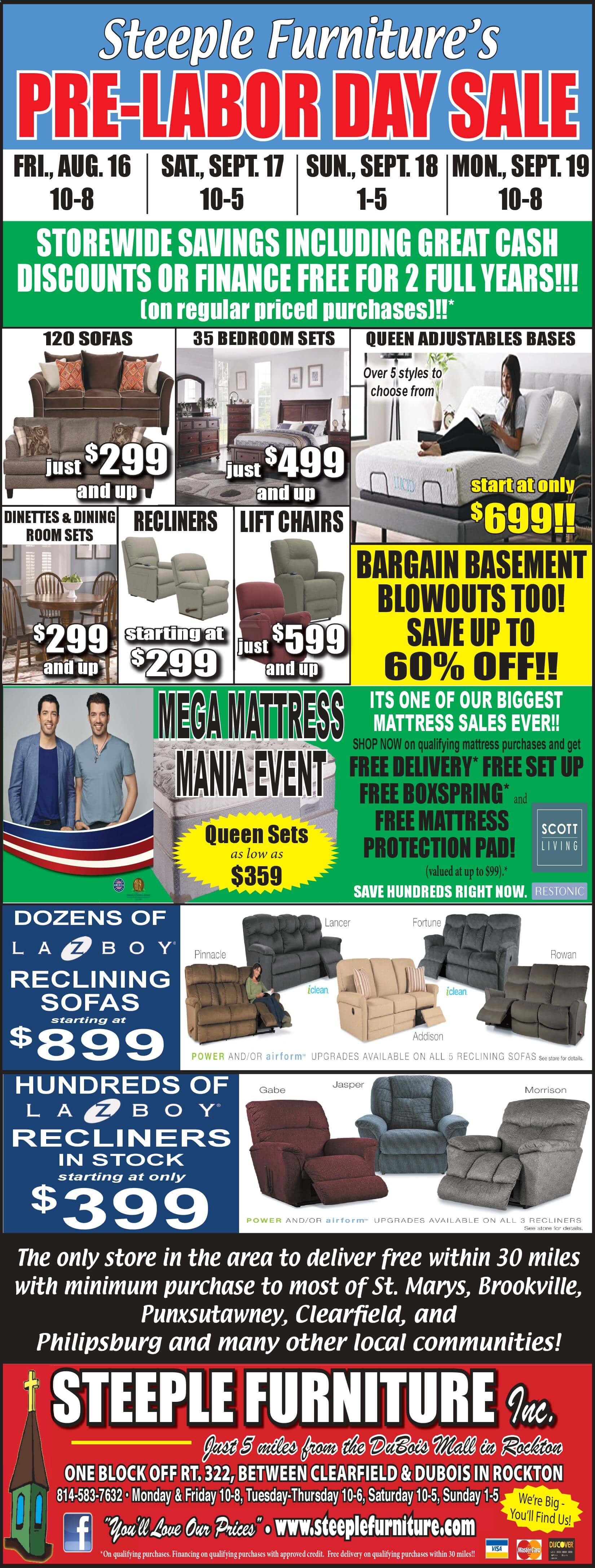 Presidential Day Sale at Steeple Furniture & Mattress in Rockton, PA